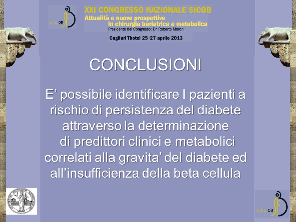 CONCLUSIONI E' possibile identificare I pazienti a rischio di persistenza del diabete attraverso la determinazione di predittori clinici e metabolici