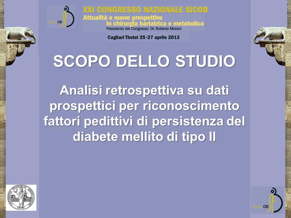 SCOPO DELLO STUDIO Analisi retrospettiva su dati prospettici per riconoscimento fattori pedittivi di persistenza del diabete mellito di tipo II