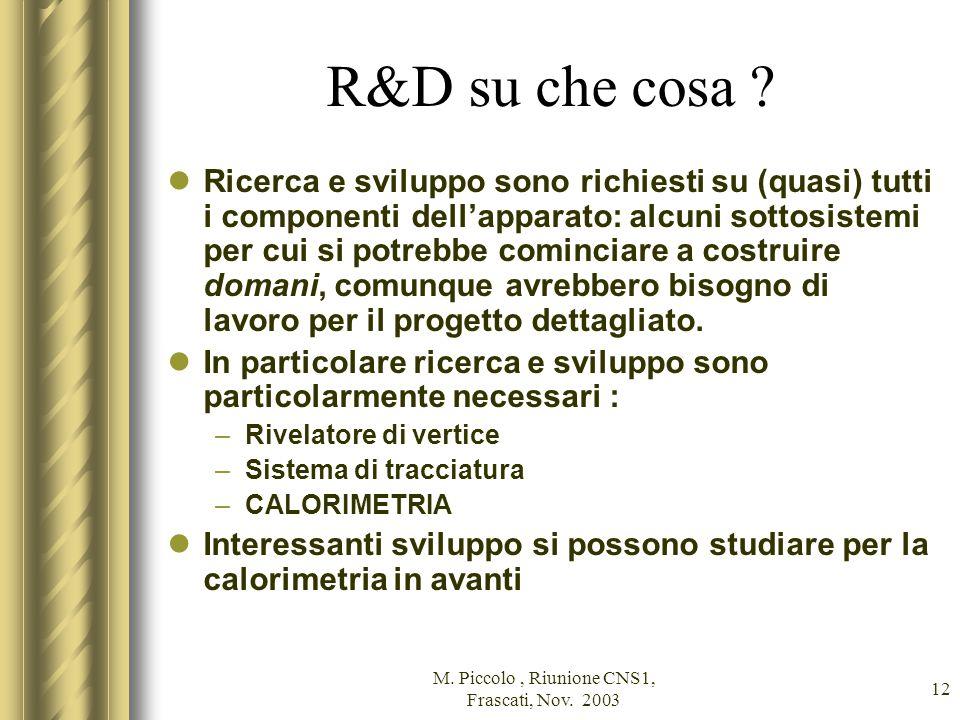 M. Piccolo, Riunione CNS1, Frascati, Nov. 2003 12 R&D su che cosa .