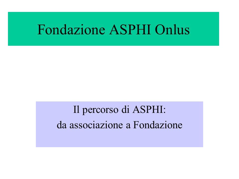 Fondazione ASPHI Onlus Il percorso di ASPHI: da associazione a Fondazione