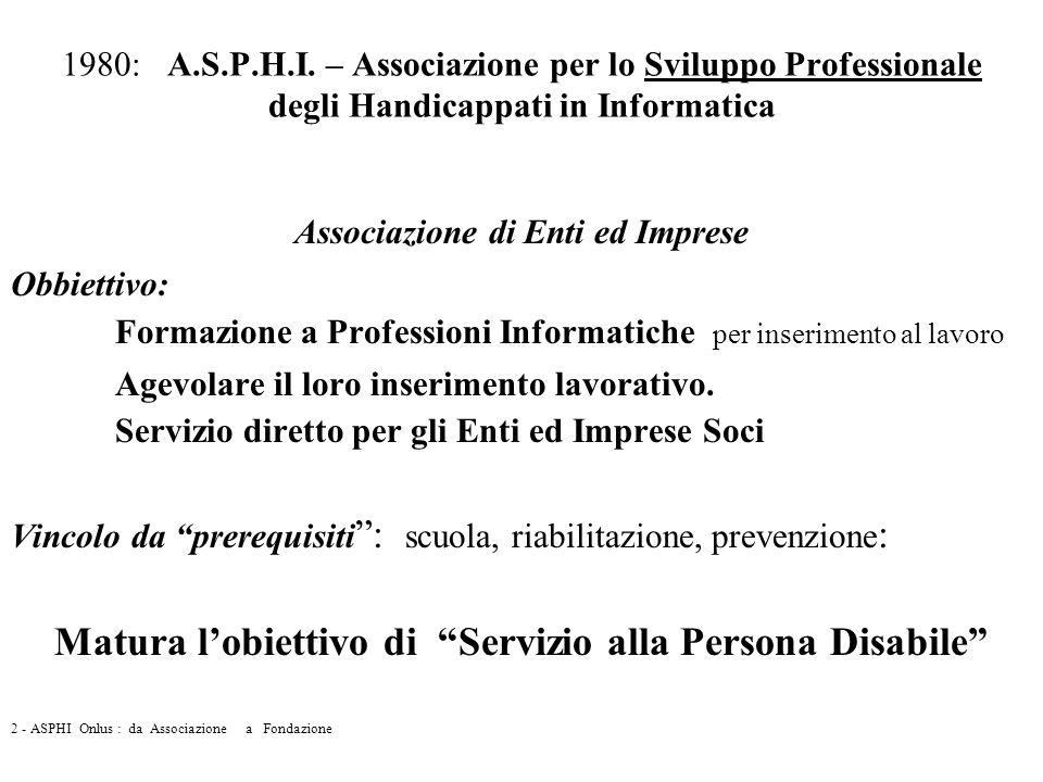 1980: A.S.P.H.I. – Associazione per lo Sviluppo Professionale degli Handicappati in Informatica Associazione di Enti ed Imprese Obbiettivo: Formazione