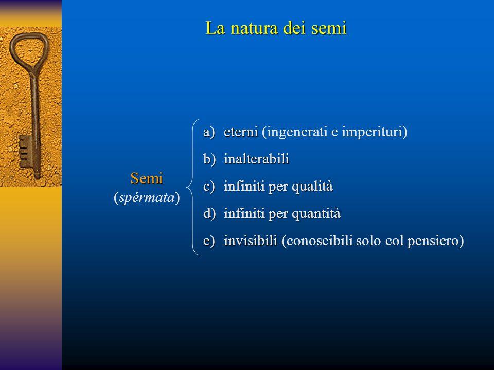 La natura dei semi Semi (spérmata) a)eterni a)eterni (ingenerati e imperituri) b)inalterabili c)infiniti per qualità d)infiniti per quantità e)invisib