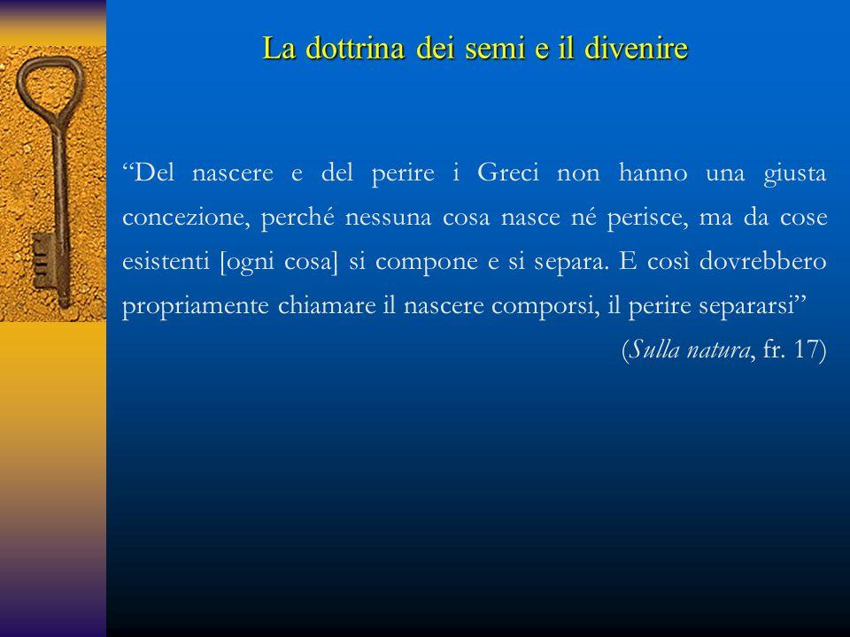 """""""Del nascere e del perire i Greci non hanno una giusta concezione, perché nessuna cosa nasce né perisce, ma da cose esistenti [ogni cosa] si compone e"""