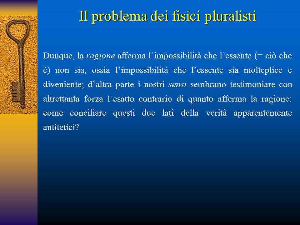 Il problema dei fisici pluralisti Dunque, la ragione afferma l'impossibilità che l'essente (= ciò che è) non sia, ossia l'impossibilità che l'essente