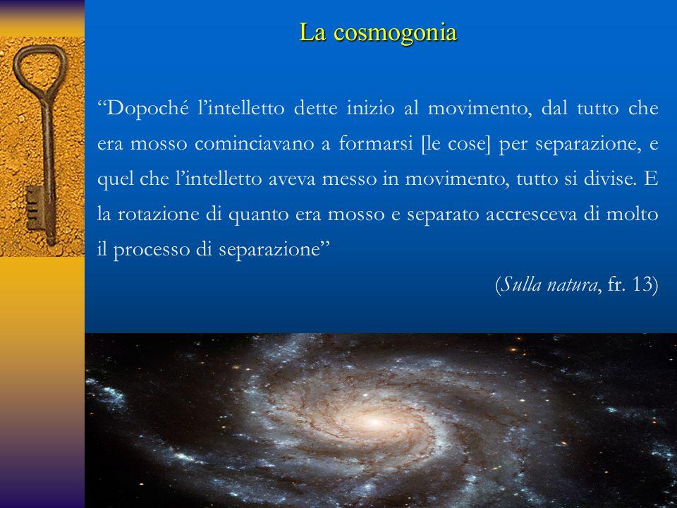 """La cosmogonia """"Dopoché l'intelletto dette inizio al movimento, dal tutto che era mosso cominciavano a formarsi [le cose] per separazione, e quel che l"""