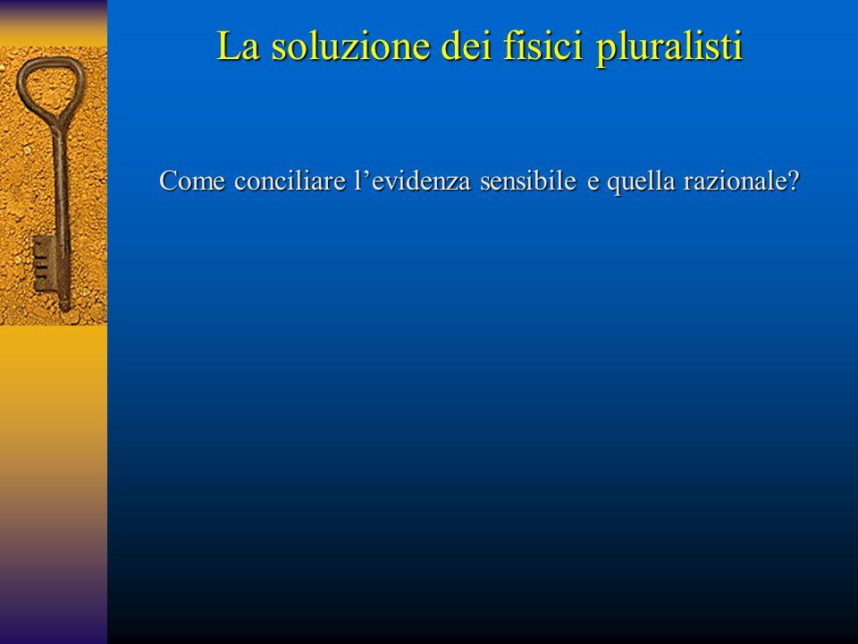 La soluzione dei fisici pluralisti Come conciliare l'evidenza sensibile e quella razionale?
