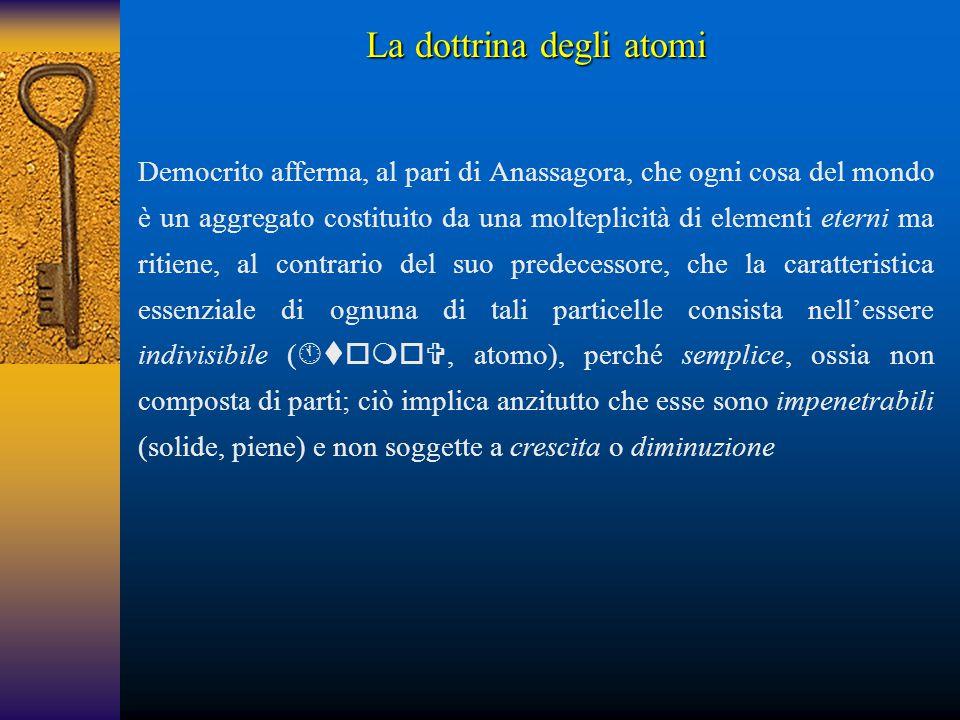 Democrito afferma, al pari di Anassagora, che ogni cosa del mondo è un aggregato costituito da una molteplicità di elementi eterni ma ritiene, al cont