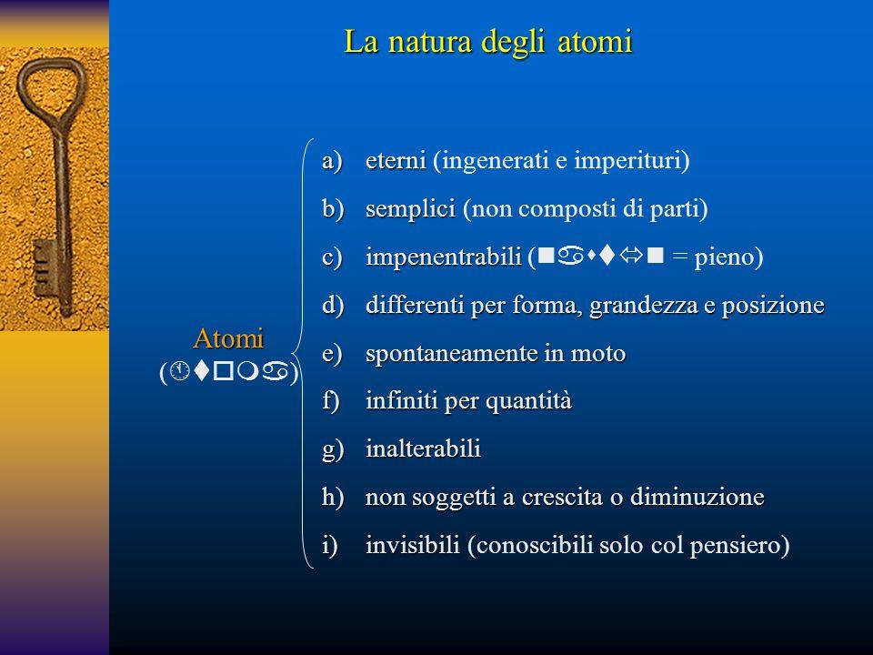 Atomi (  ) a)eterni a)eterni (ingenerati e imperituri) b)semplici b)semplici (non composti di parti) c)impenentrabili c)impenentrabili (  = p