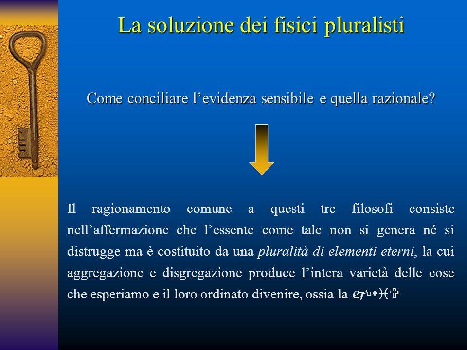 La soluzione dei fisici pluralisti Come conciliare l'evidenza sensibile e quella razionale? Il ragionamento comune a questi tre filosofi consiste nell