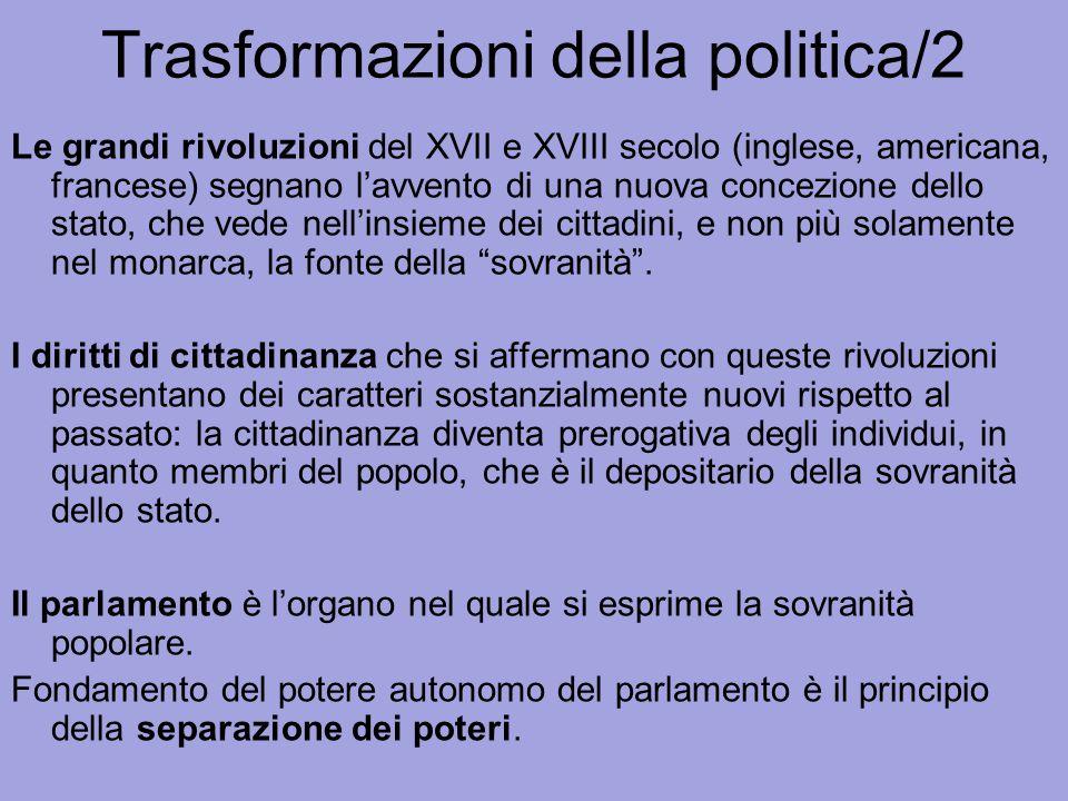 Trasformazioni della politica/2 Le grandi rivoluzioni del XVII e XVIII secolo (inglese, americana, francese) segnano l'avvento di una nuova concezione