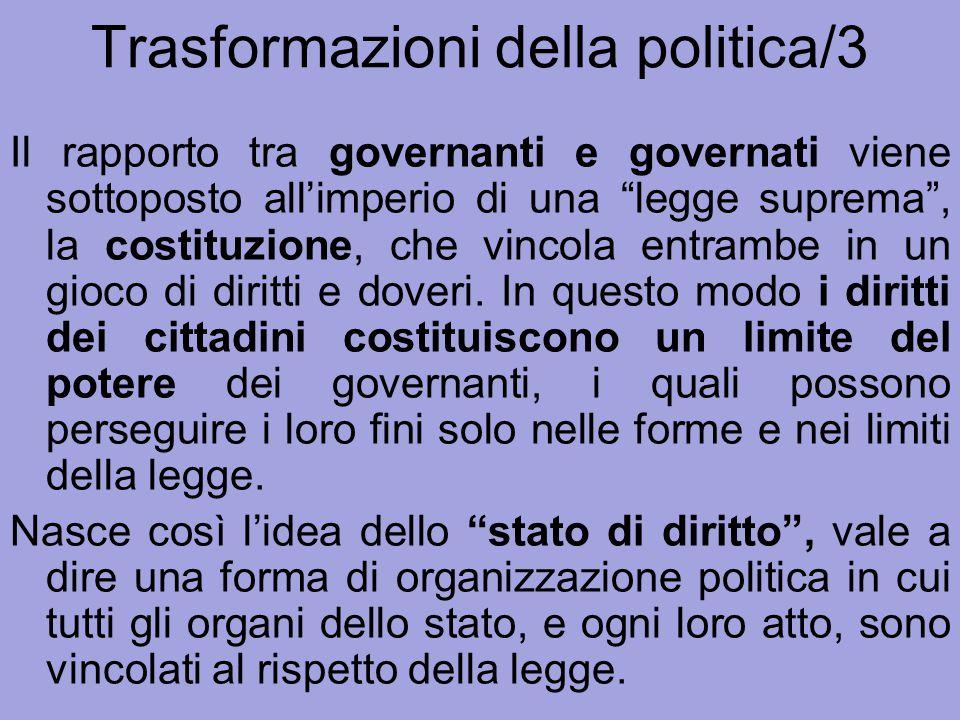 """Trasformazioni della politica/3 Il rapporto tra governanti e governati viene sottoposto all'imperio di una """"legge suprema"""", la costituzione, che vinco"""