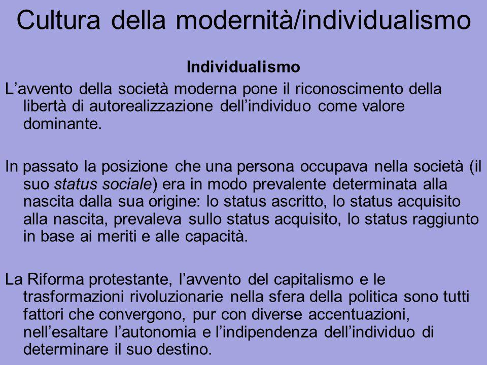 Cultura della modernità/individualismo Individualismo L'avvento della società moderna pone il riconoscimento della libertà di autorealizzazione dell'i