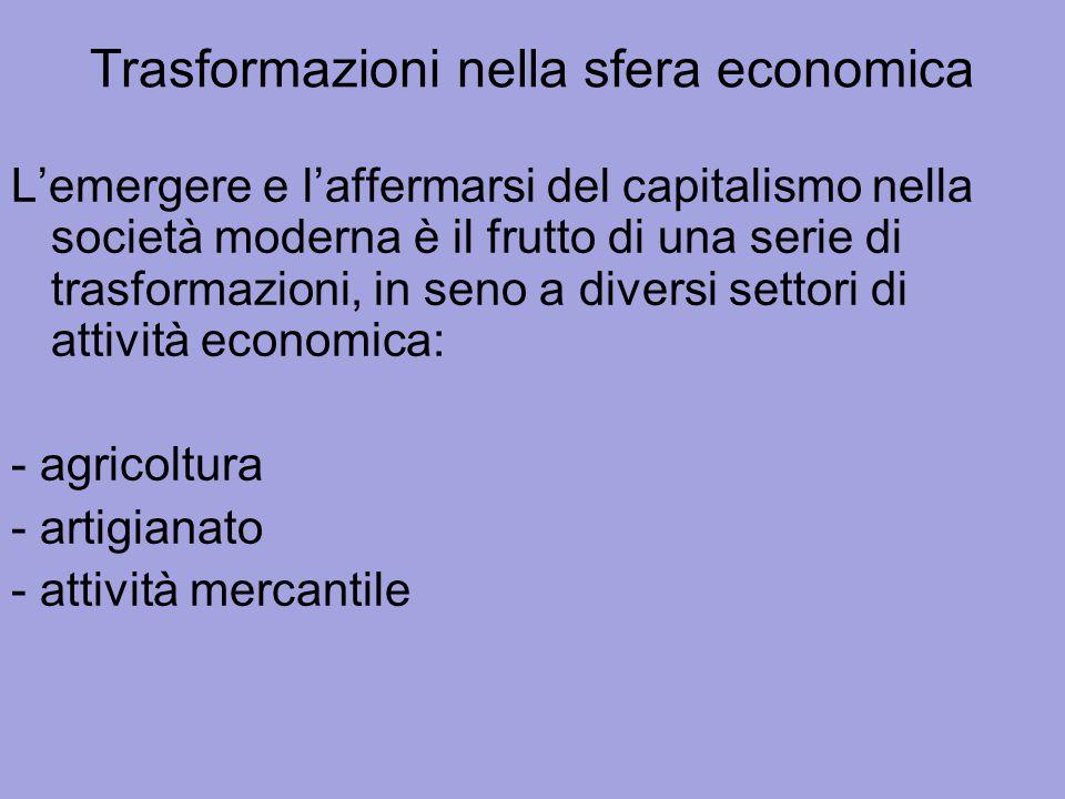Trasformazioni nella sfera economica L'emergere e l'affermarsi del capitalismo nella società moderna è il frutto di una serie di trasformazioni, in se