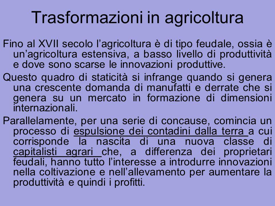 Trasformazioni in agricoltura Fino al XVII secolo l'agricoltura è di tipo feudale, ossia è un'agricoltura estensiva, a basso livello di produttività e