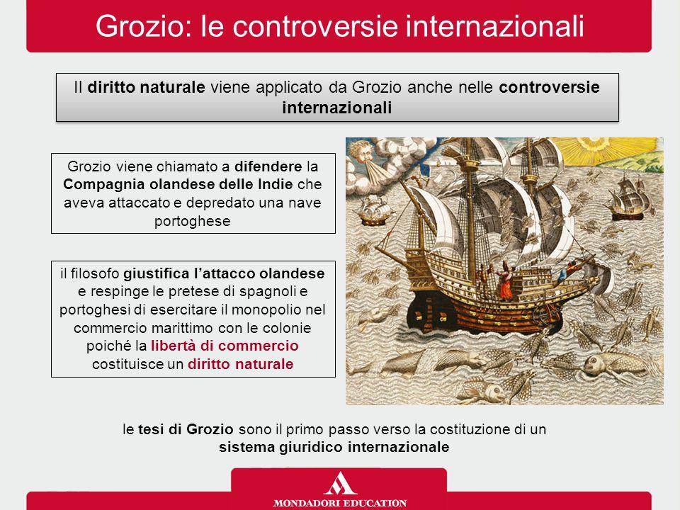 Grozio: le controversie internazionali Il diritto naturale viene applicato da Grozio anche nelle controversie internazionali il filosofo giustifica l'