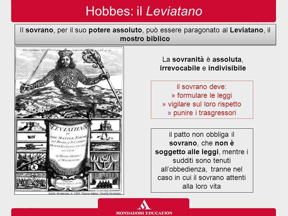 Hobbes: il Leviatano il sovrano deve: » formulare le leggi » vigilare sul loro rispetto » punire i trasgressori Il sovrano, per il suo potere assoluto