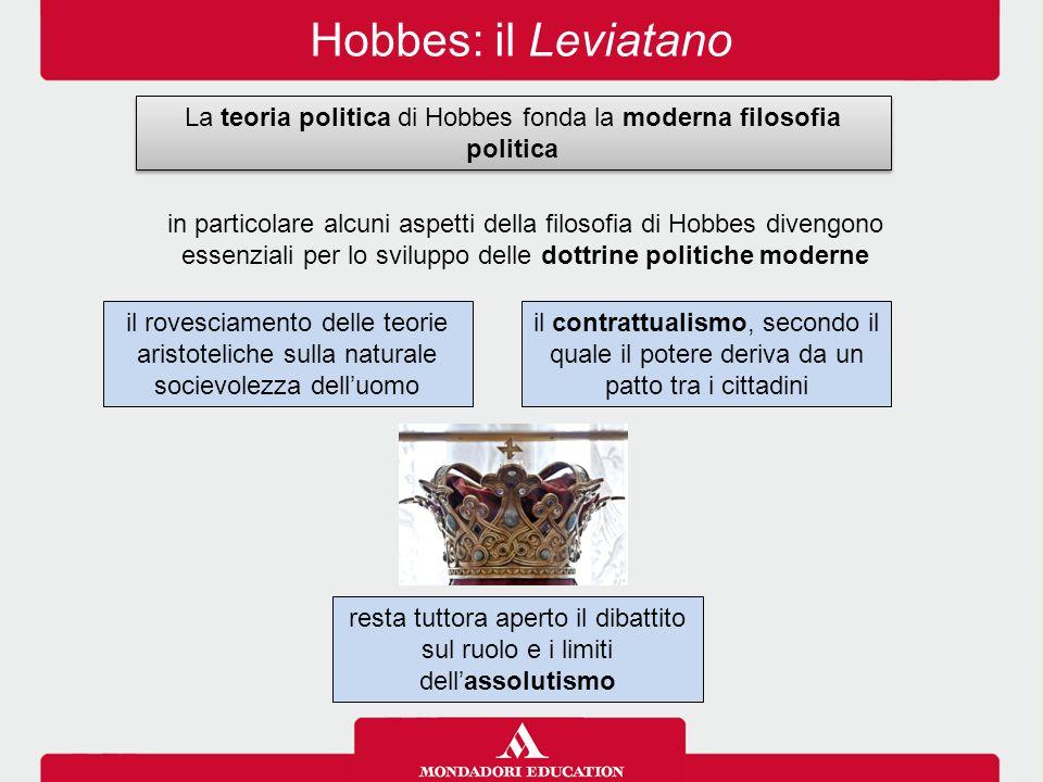 Hobbes: il Leviatano La teoria politica di Hobbes fonda la moderna filosofia politica il contrattualismo, secondo il quale il potere deriva da un patt