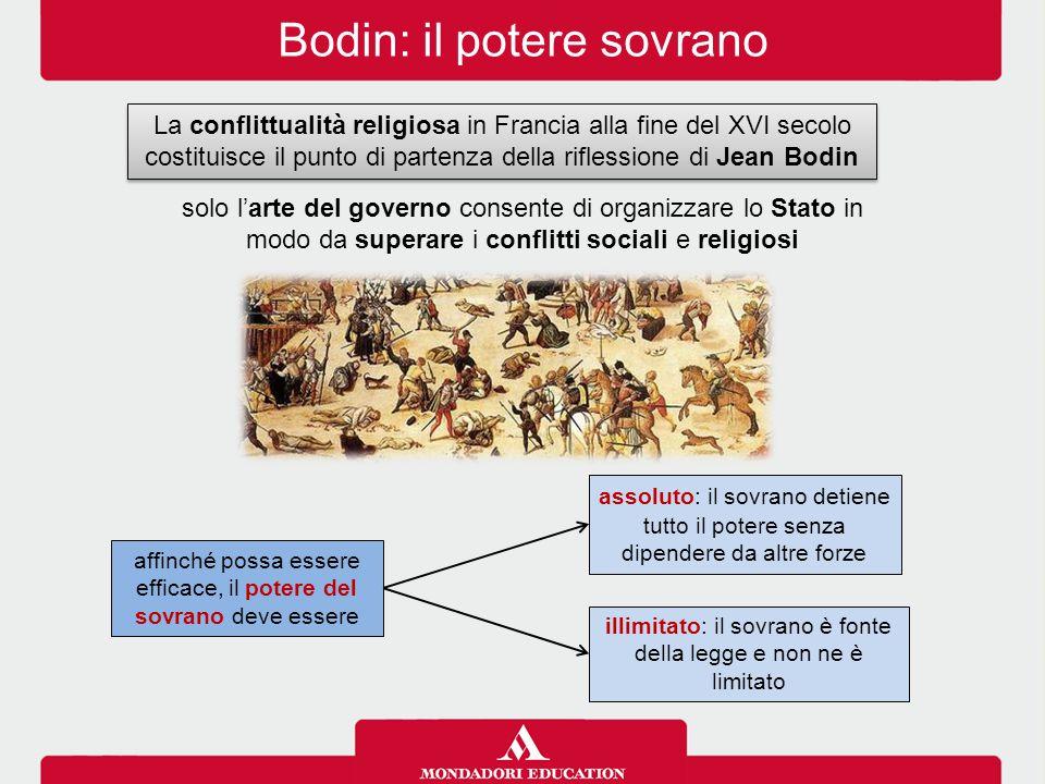 Bodin: il potere sovrano assoluto: il sovrano detiene tutto il potere senza dipendere da altre forze La conflittualità religiosa in Francia alla fine