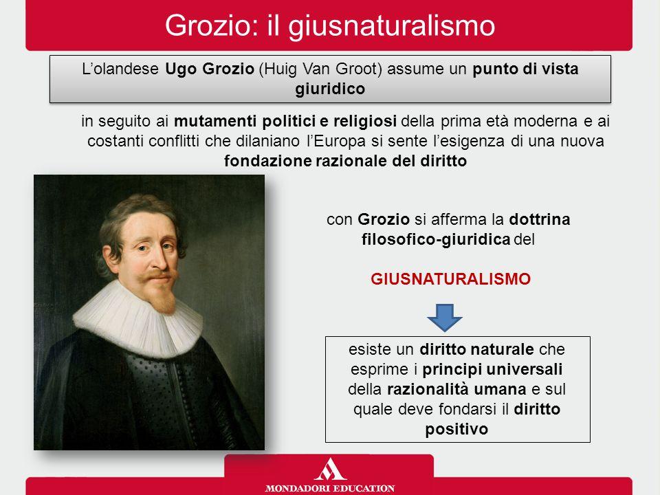 Grozio: il giusnaturalismo L'olandese Ugo Grozio (Huig Van Groot) assume un punto di vista giuridico in seguito ai mutamenti politici e religiosi dell