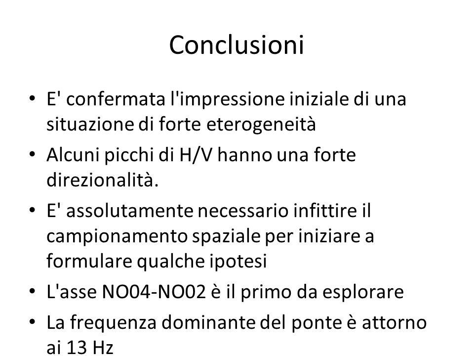 Conclusioni E confermata l impressione iniziale di una situazione di forte eterogeneità Alcuni picchi di H/V hanno una forte direzionalità.