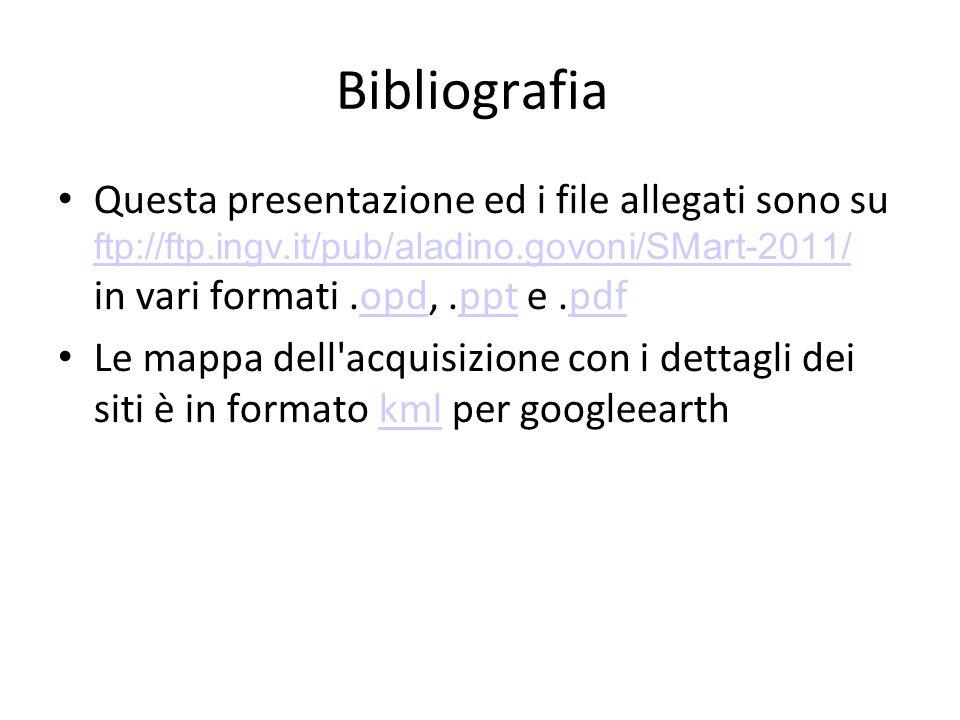 Bibliografia Questa presentazione ed i file allegati sono su ftp://ftp.ingv.it/pub/aladino.govoni/SMart-2011/ in vari formati.opd,.ppt e.pdf ftp://ftp.ingv.it/pub/aladino.govoni/SMart-2011/opdpptpdf Le mappa dell acquisizione con i dettagli dei siti è in formato kml per googleearthkml