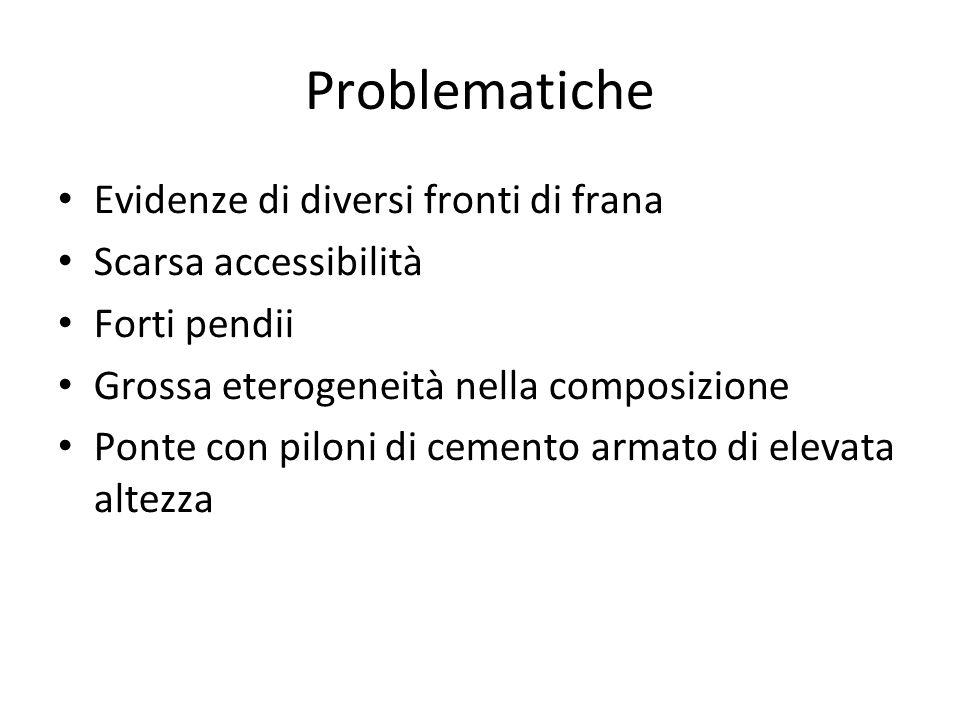 Problematiche Evidenze di diversi fronti di frana Scarsa accessibilità Forti pendii Grossa eterogeneità nella composizione Ponte con piloni di cemento armato di elevata altezza