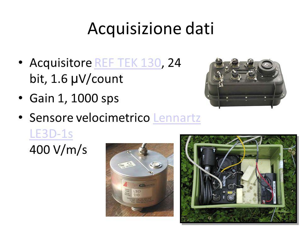 Acquisizione dati Acquisitore REF TEK 130, 24 bit, 1.6 μ V/countREF TEK 130 Gain 1, 1000 sps Sensore velocimetrico Lennartz LE3D-1s 400 V/m/sLennartz LE3D-1s