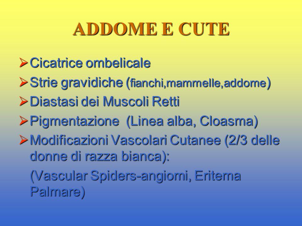 ADDOME E CUTE  Cicatrice ombelicale  Strie gravidiche ( fianchi,mammelle,addome )  Diastasi dei Muscoli Retti  Pigmentazione (Linea alba, Cloasma)