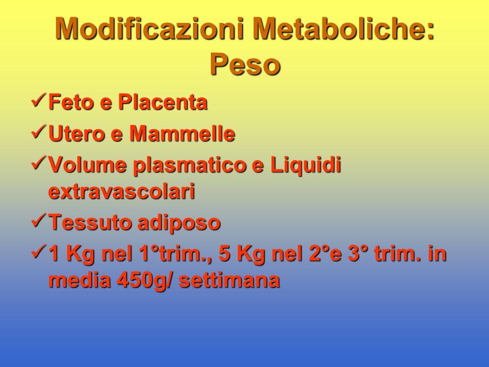 Modificazioni Metaboliche: Peso Feto e Placenta Feto e Placenta Utero e Mammelle Utero e Mammelle Volume plasmatico e Liquidi extravascolari Volume pl