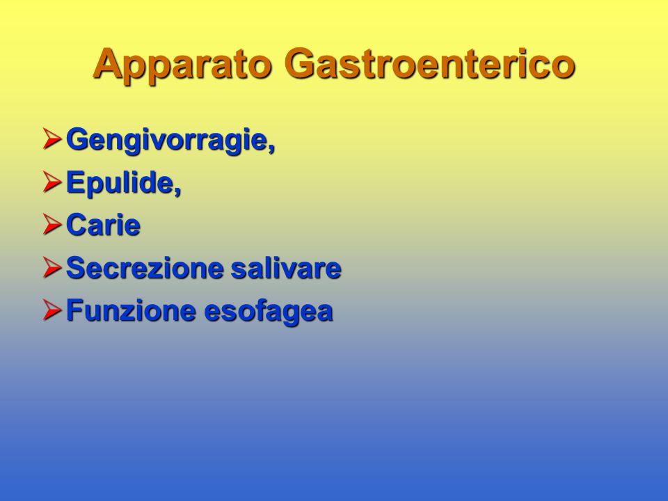 Apparato Gastroenterico  Gengivorragie,  Epulide,  Carie  Secrezione salivare  Funzione esofagea