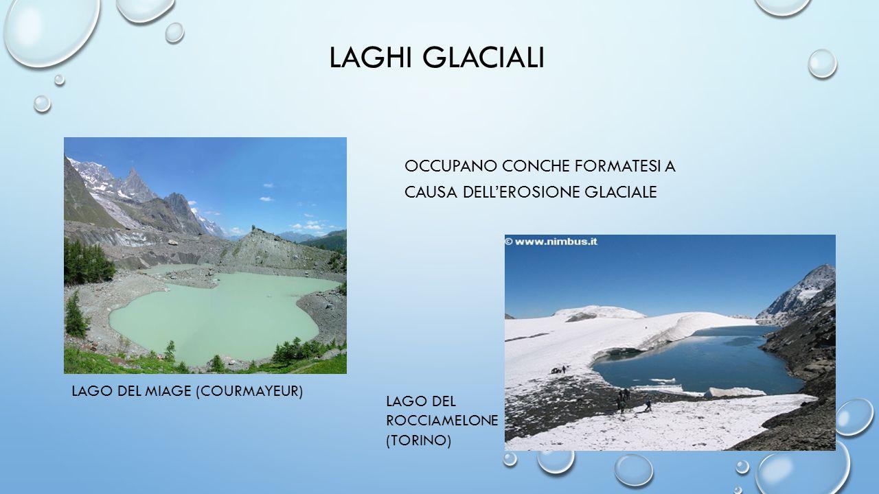 LAGHI GLACIALI OCCUPANO CONCHE FORMATESI A CAUSA DELL'EROSIONE GLACIALE LAGO DEL MIAGE (COURMAYEUR) LAGO DEL ROCCIAMELONE (TORINO)