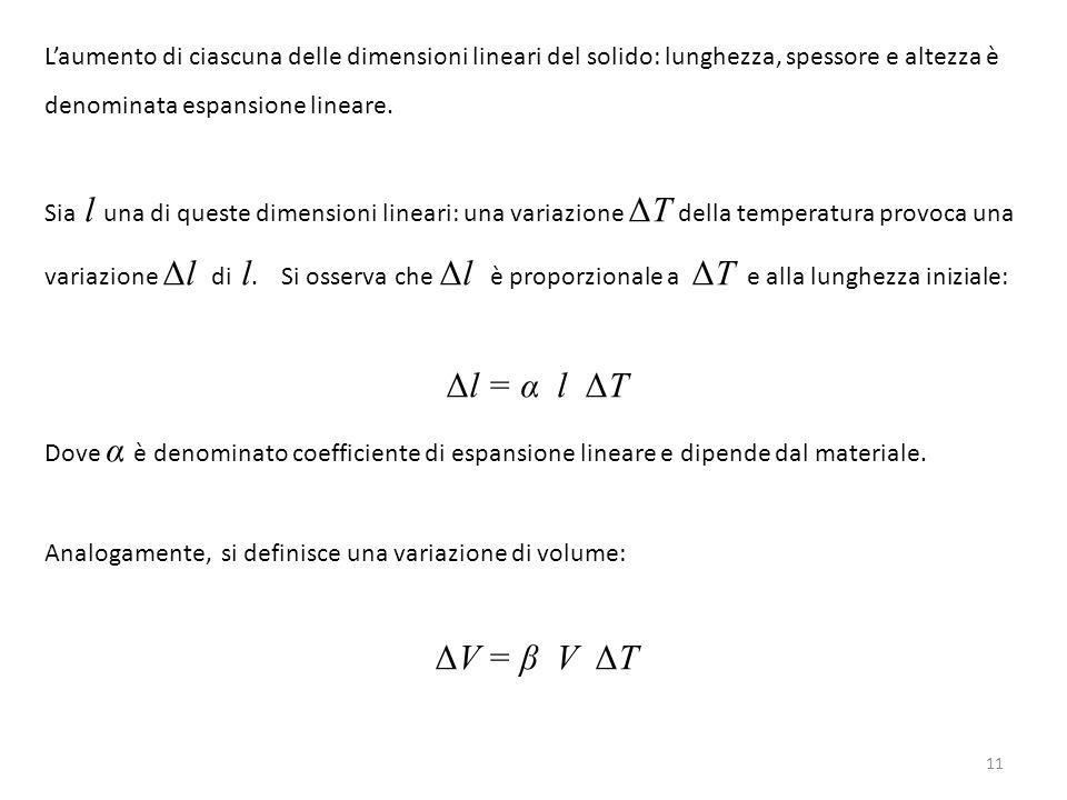 11 L'aumento di ciascuna delle dimensioni lineari del solido: lunghezza, spessore e altezza è denominata espansione lineare. Sia l una di queste dimen