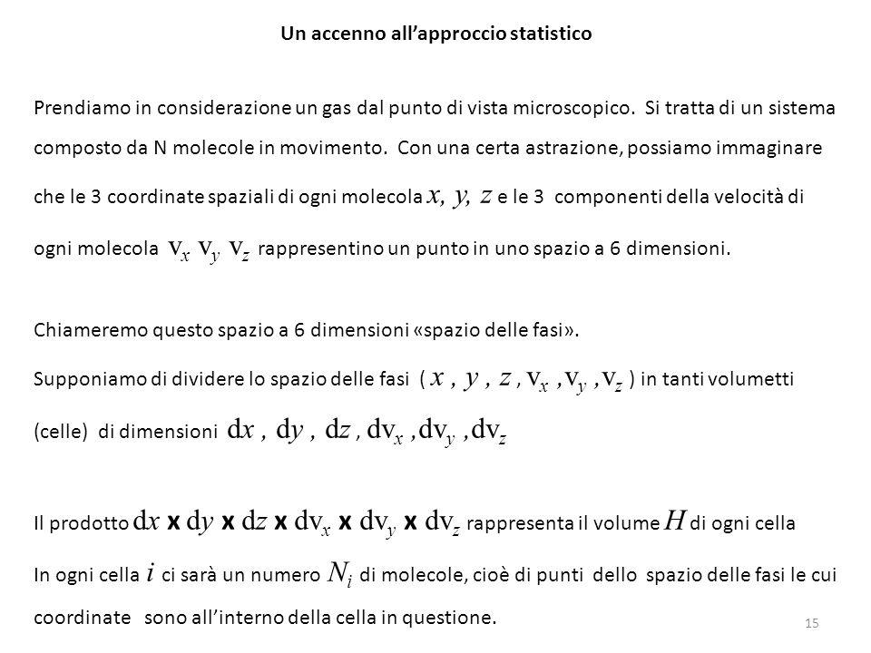 Un accenno all'approccio statistico Prendiamo in considerazione un gas dal punto di vista microscopico. Si tratta di un sistema composto da N molecole