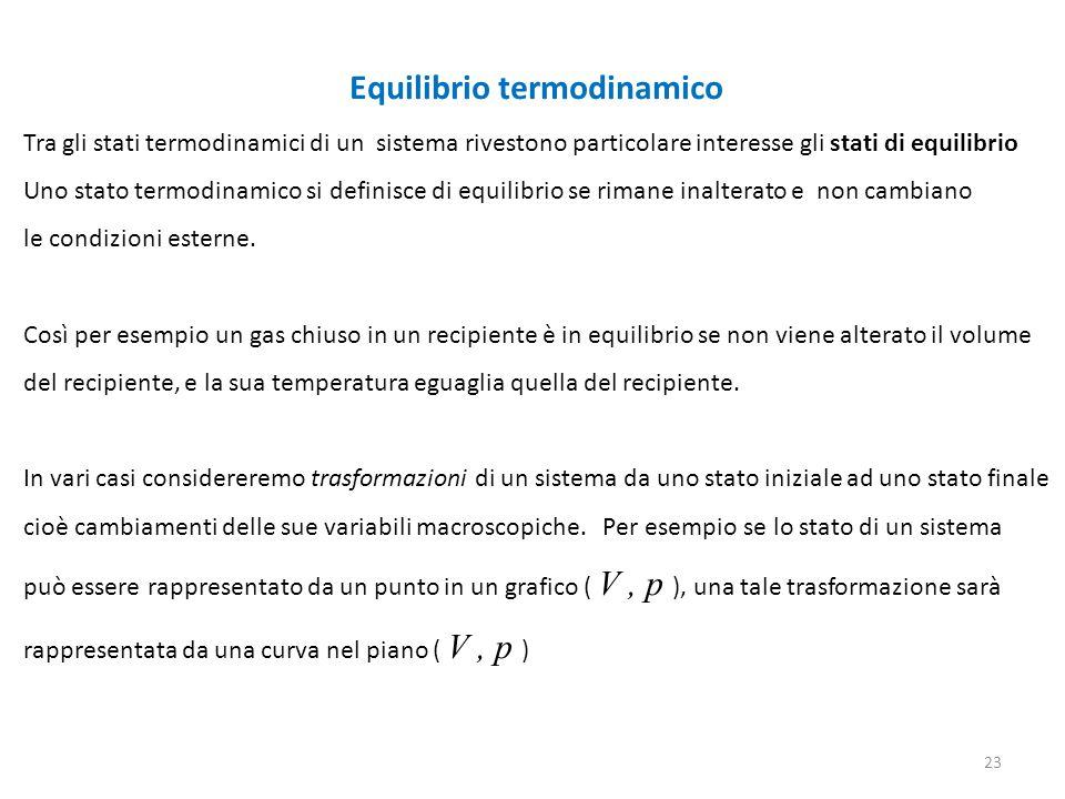 Equilibrio termodinamico Tra gli stati termodinamici di un sistema rivestono particolare interesse gli stati di equilibrio Uno stato termodinamico si definisce di equilibrio se rimane inalterato e non cambiano le condizioni esterne.
