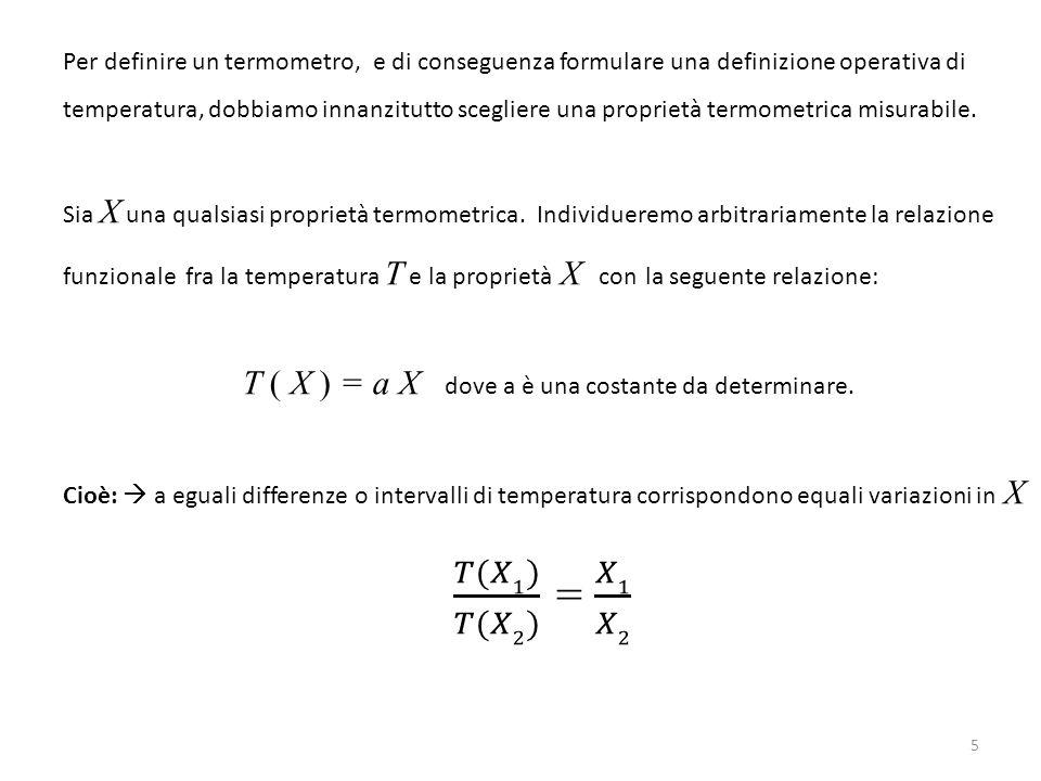 6 Pertanto, una volta rilevato il valore X 0 della proprietà termometrica X in una situazione fisica di riferimento, per esempio il punto triplo dell'acqua, possiamo determinare con lo stesso termometro la temperatura in qualsiasi altra situazione fisica.