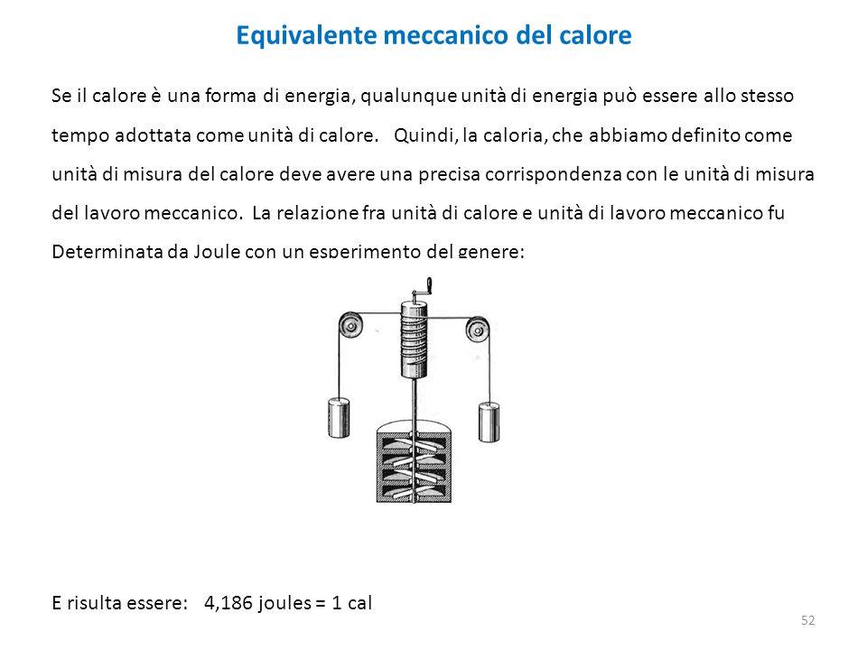 Equivalente meccanico del calore Se il calore è una forma di energia, qualunque unità di energia può essere allo stesso tempo adottata come unità di calore.