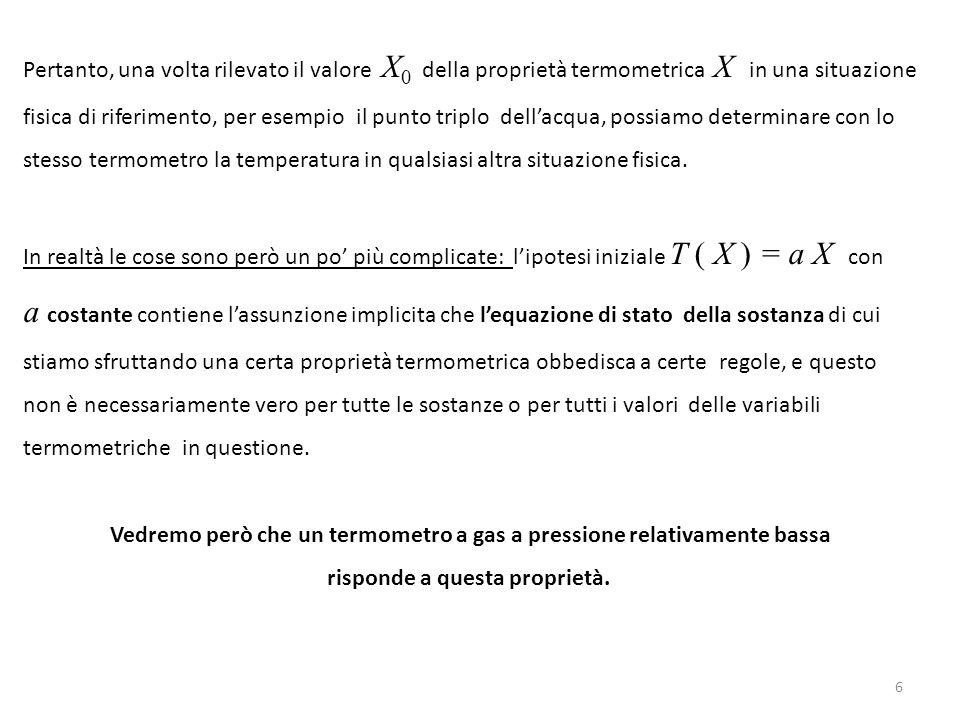 6 Pertanto, una volta rilevato il valore X 0 della proprietà termometrica X in una situazione fisica di riferimento, per esempio il punto triplo dell'