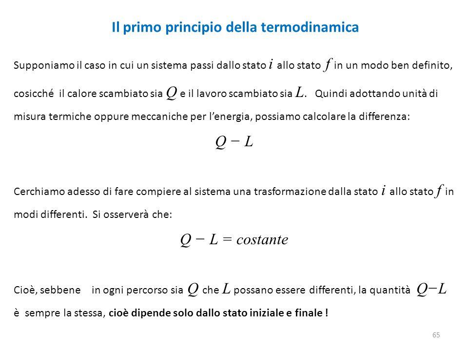 Il primo principio della termodinamica 65 Supponiamo il caso in cui un sistema passi dallo stato i allo stato f in un modo ben definito, cosicché il c