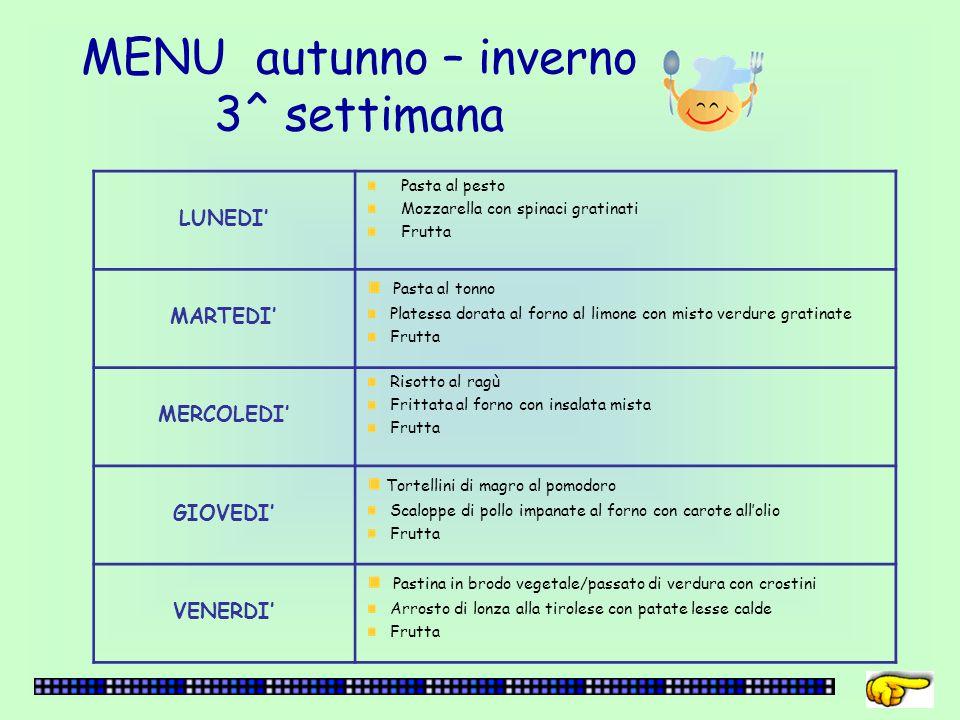 MENU autunno – inverno 3^ settimana LUNEDI' Pasta al pesto Mozzarella con spinaci gratinati Frutta MARTEDI' Pasta al tonno Platessa dorata al forno al