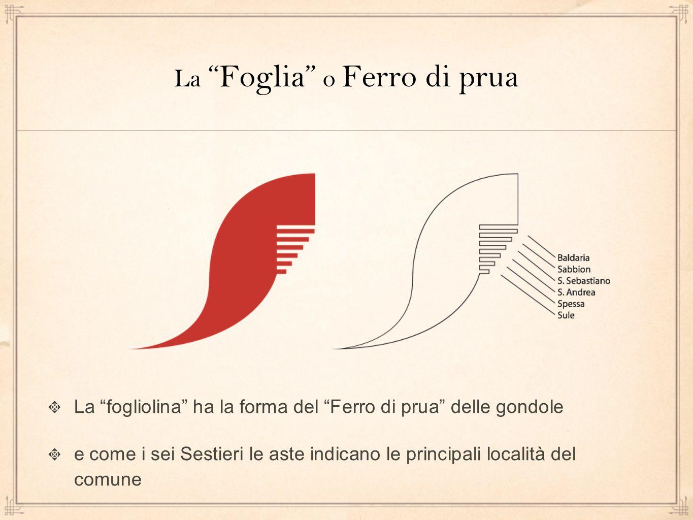 La Foglia o Ferro di prua La fogliolina ha la forma del Ferro di prua delle gondole e come i sei Sestieri le aste indicano le principali località del comune