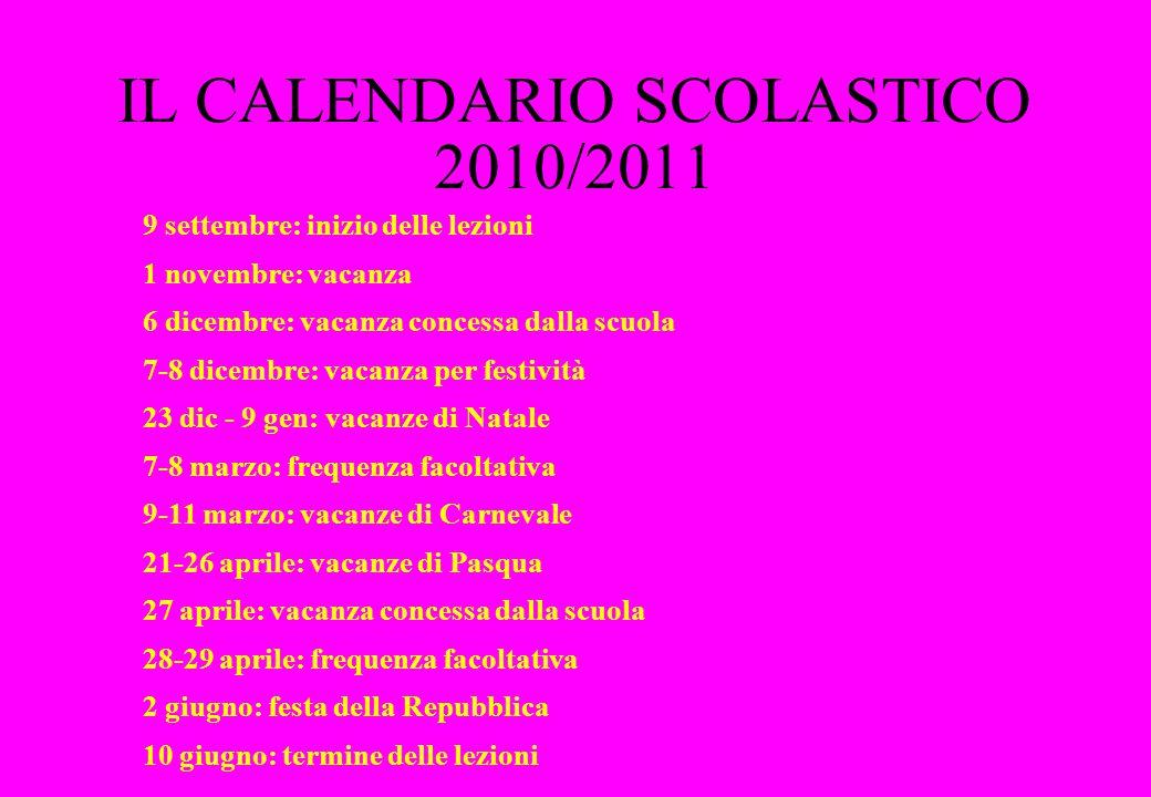 IL CALENDARIO SCOLASTICO 2010/2011 9 settembre: inizio delle lezioni 1 novembre: vacanza 6 dicembre: vacanza concessa dalla scuola 7-8 dicembre: vacan