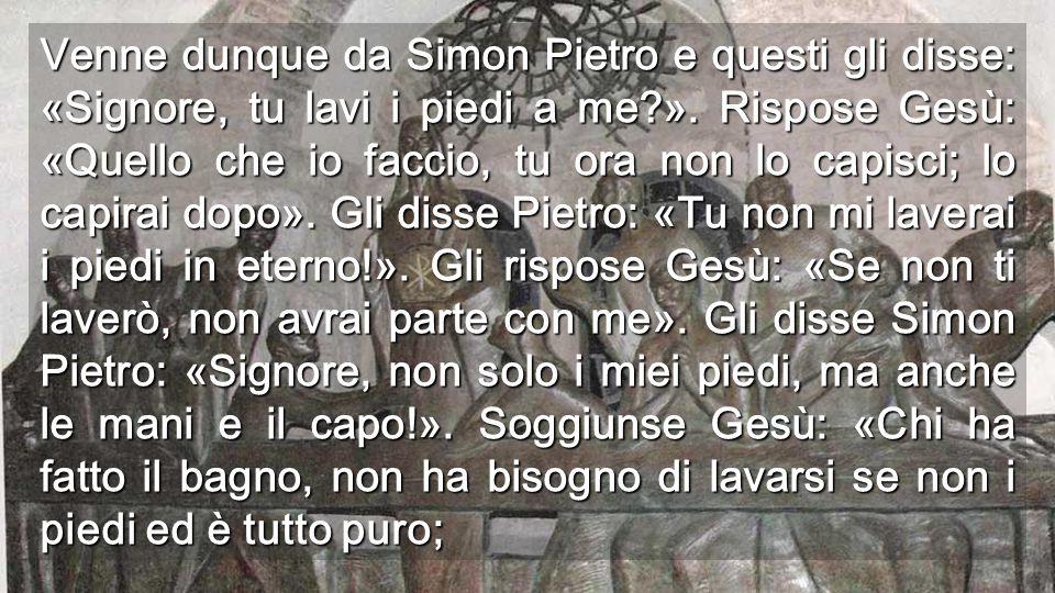 Venne dunque da Simon Pietro e questi gli disse: «Signore, tu lavi i piedi a me?».