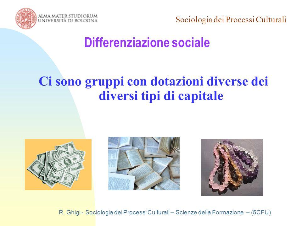 Sociologia dei Processi Culturali R. Ghigi - Sociologia dei Processi Culturali – Scienze della Formazione – (5CFU) Differenziazione sociale Ci sono gr