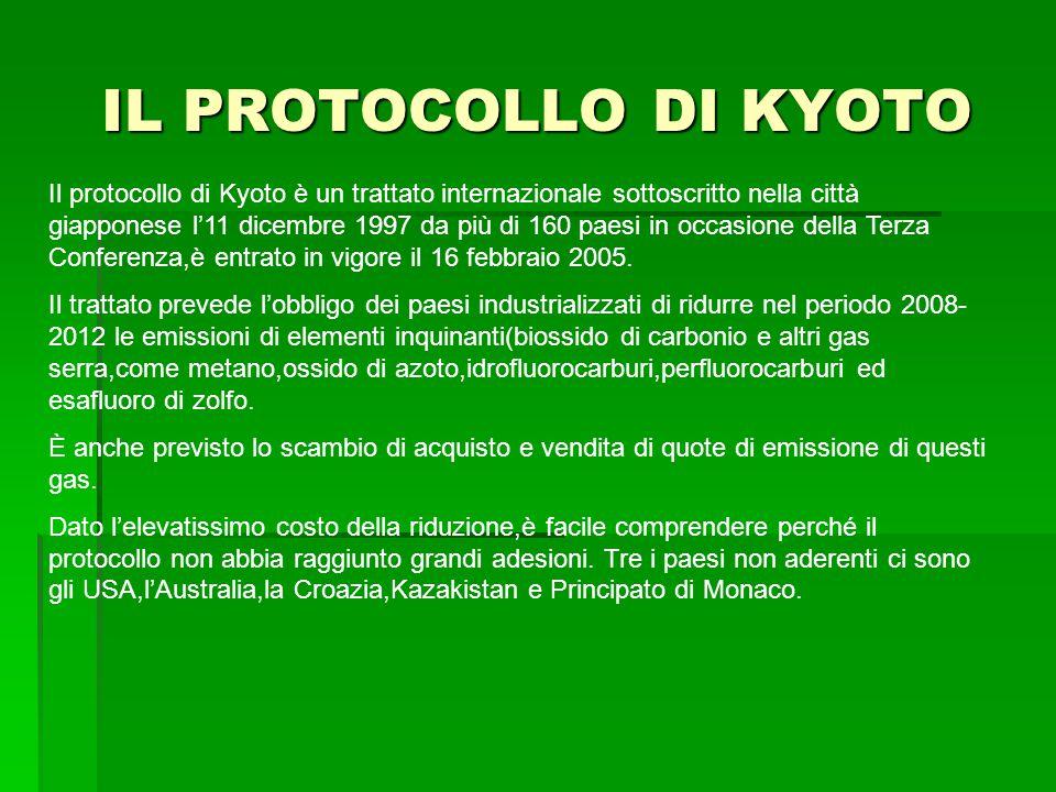 IL PROTOCOLLO DI KYOTO Il protocollo di Kyoto è un trattato internazionale sottoscritto nella città giapponese l'11 dicembre 1997 da più di 160 paesi in occasione della Terza Conferenza,è entrato in vigore il 16 febbraio 2005.