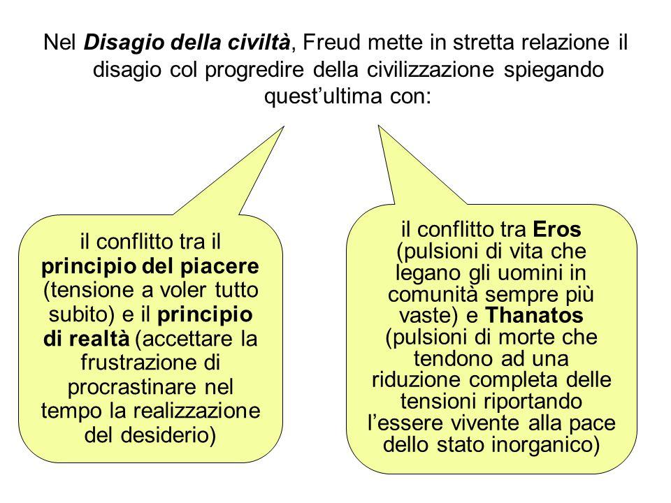 Nel Disagio della civiltà, Freud mette in stretta relazione il disagio col progredire della civilizzazione spiegando quest'ultima con: il conflitto tr