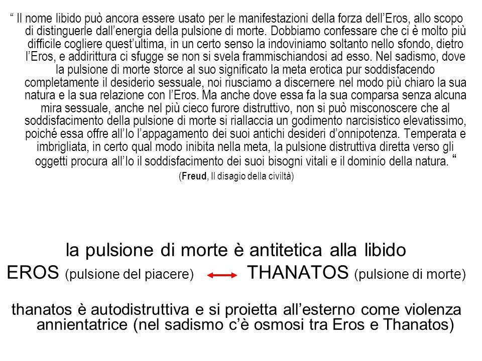 """"""" Il nome libido può ancora essere usato per le manifestazioni della forza dell'Eros, allo scopo di distinguerle dall'energia della pulsione di morte."""