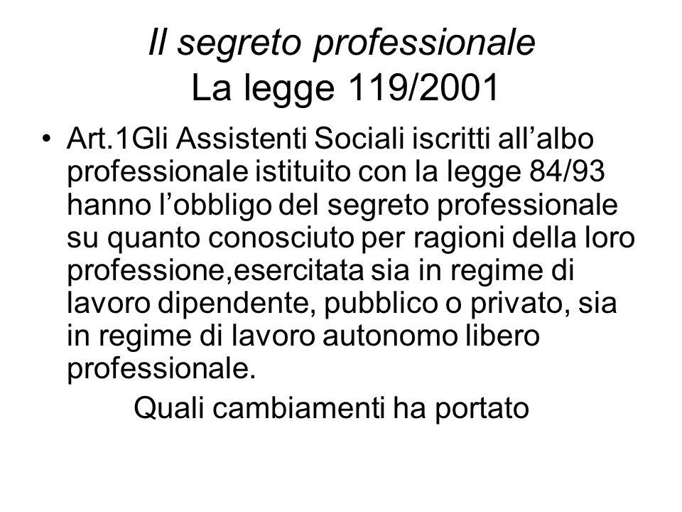 Il segreto professionale La legge 119/2001 Art.1Gli Assistenti Sociali iscritti all'albo professionale istituito con la legge 84/93 hanno l'obbligo de