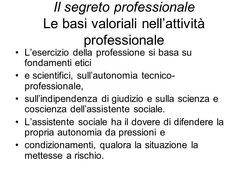 Il segreto professionale Le basi valoriali nell'attività professionale L'esercizio della professione si basa su fondamenti etici e scientifici, sull'a