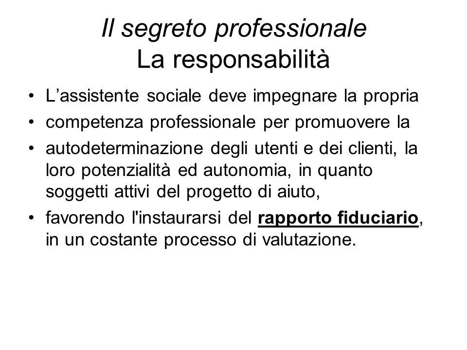 Il segreto professionale La responsabilità L'assistente sociale deve impegnare la propria competenza professionale per promuovere la autodeterminazion