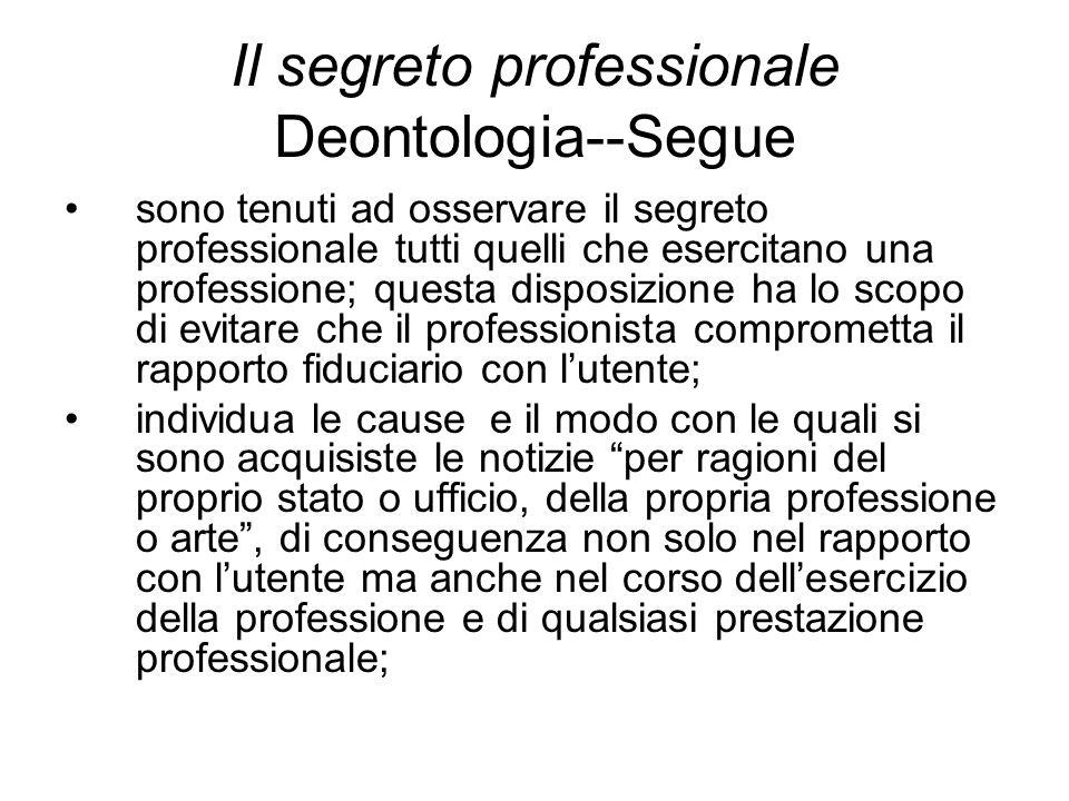 Il segreto professionale Deontologia--Segue sono tenuti ad osservare il segreto professionale tutti quelli che esercitano una professione; questa disp